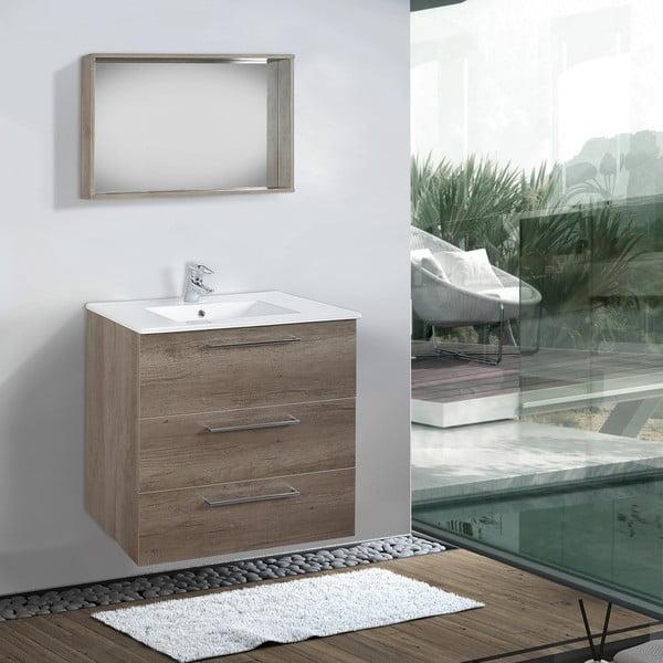 Koupelnová skříňka s umyvadlem a zrcadlem Darwin, dekor dubu, 70 cm