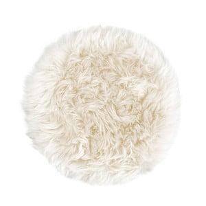 Pernă scaun din blană de oaie Royal Dream, Ø 35 cm, alb