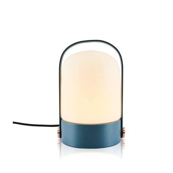 Modrá stolní lampa s podstavcem Anka