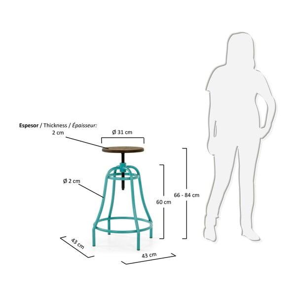 Sada 2 barových stoliček s tyrkysovým podnožím La Forma Malibu