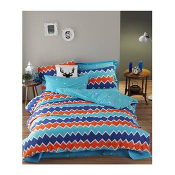 Lenjerie de pat cu cearșaf din bumbac ranforce, pentru pat dublu Mijolnir Zigros Orange, 160 x 220 cm de la Mijolnir