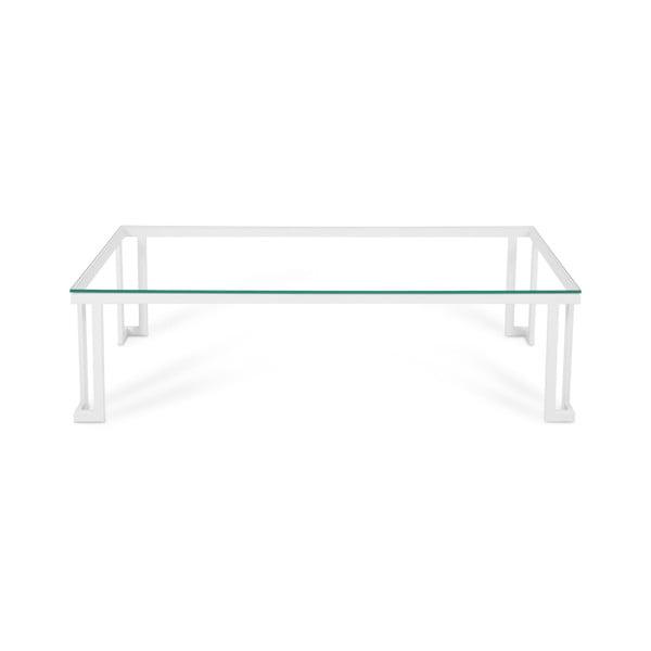 Skleněný venkovní stůl v bílém rámu Calme Jardin Cannes, 60 x 150 cm
