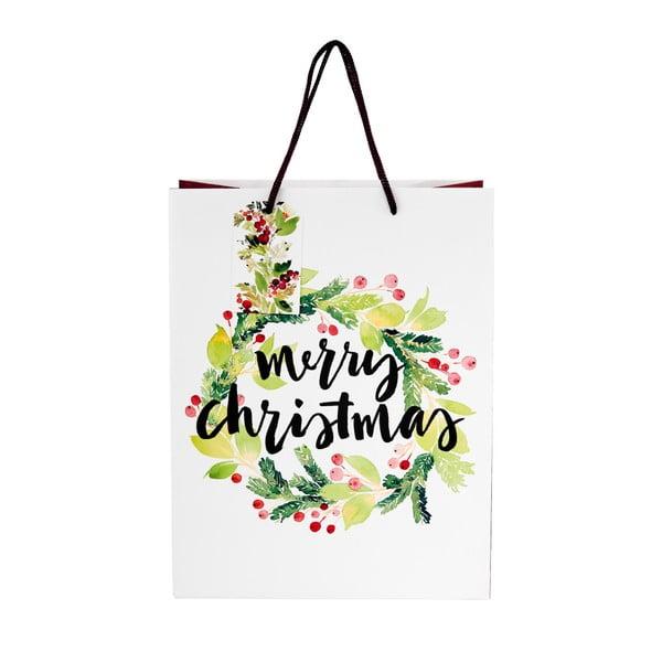 Biela darčeková taška Butlers merry christmas, výška 13,5 cm
