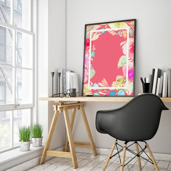 Plakát s květinami, růžové pozadí v rámečku, 30 x 40 cm