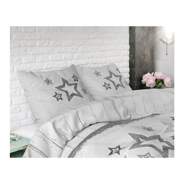 Šedo-bílé povlečení z mikroperkálu na dvoulůžko Sleeptime Stars,240x220cm