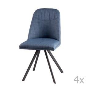 Sada 4 světle modrých otočných jídelních židlí sømcasa Cris