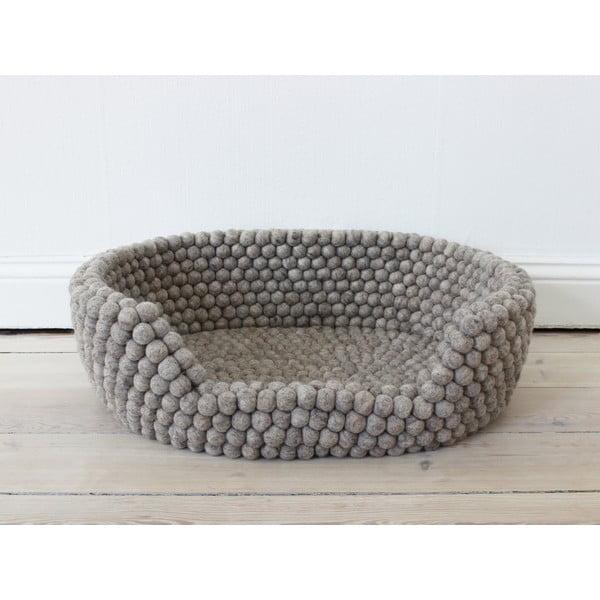 Pat cu bile din lână, pentru animale de companie Wooldot Ball Pet Basket, 40 x 30 cm, maro nisip
