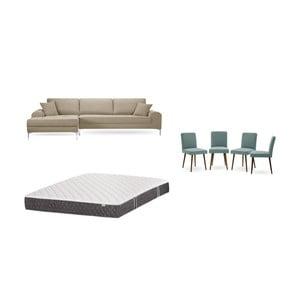Set šedobéžové pohovky s lenoškou vlevo, 4šedozelených židlí a matrace 160 x 200 cm Home Essentials