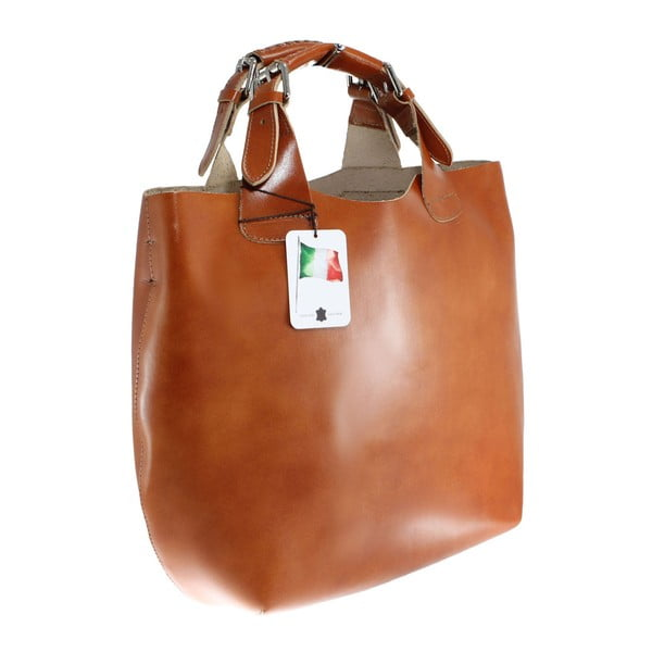 Koňakově hnědá kožená kabelka Chicca Borse Sofia