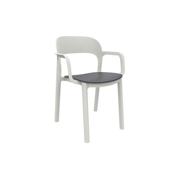 Set 4 scaune de grădină cu șezut gri și cotiere Resol Ona, alb