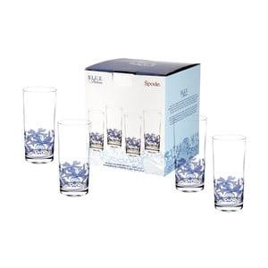 Sada 4 bílomodrých skleněných sklenic Spode Blue Italian, 420 ml