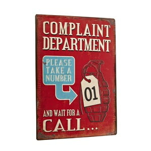 Cedule Complaint department, 35x26 cm