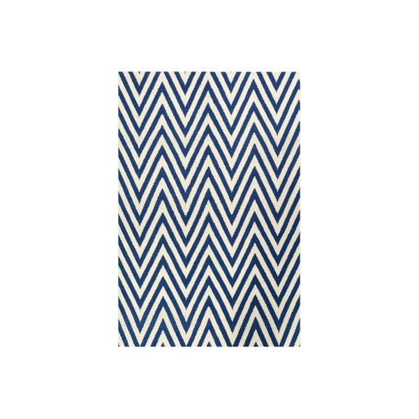 Vlněný koberec Zig Zag Dark Blue, 200x140 cm