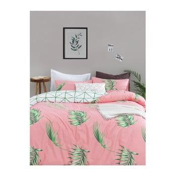 Lenjerie de pat cu cearșaf din bumbac ranforce, pentru pat dublu Mijolnir Barbara Green, 200 x 220 cm de la Mijolnir