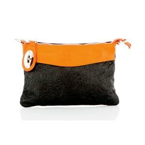 Černo-oranžové kožené psaníčko Glorious Black