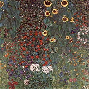 Reproducere tablou Gustav Klimt - Country Garden with Sunflowers, 50 x 50 cm