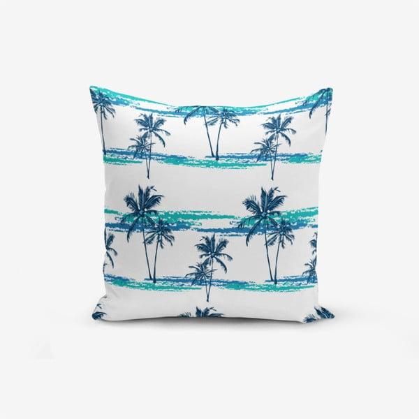 Față de pernă cu amestec din bumbac Minimalist Cushion Covers Blue Green Palm, 45 x 45 cm