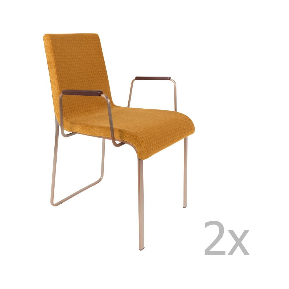 Sada 2 žlutých židlí s područkami Dutchbone Fiore