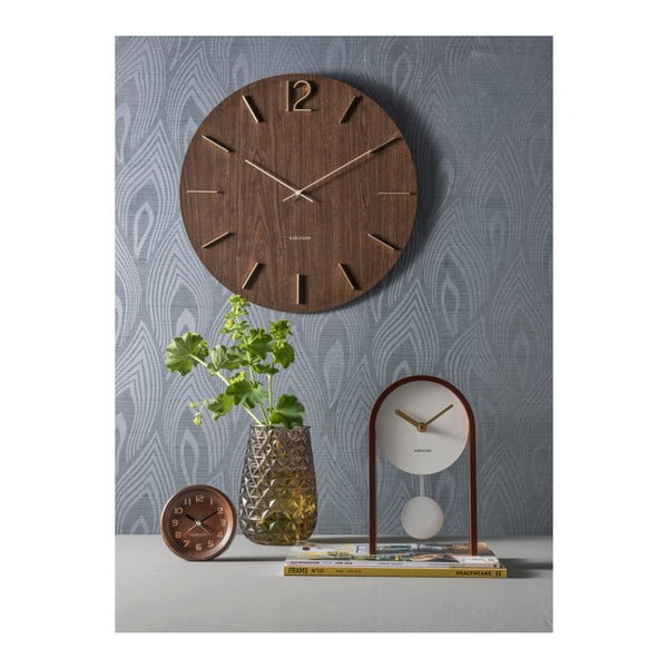 Hodiny z tmavého dubového dřeva Karlsson, Ø 11 cm
