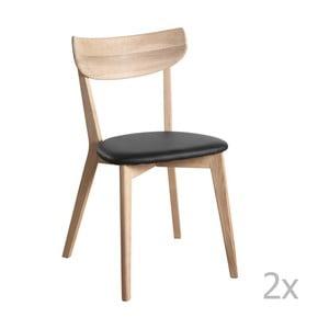 Set 2 scaune cu aspect de stejar lăcuit Folke Ami Sid