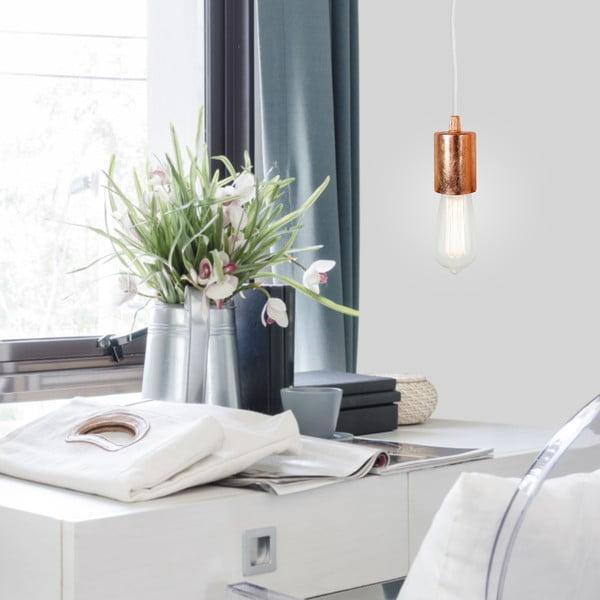 Závěsné svítidlo s bílým kabelem a měděnou objímkou Bulb Attack Cero