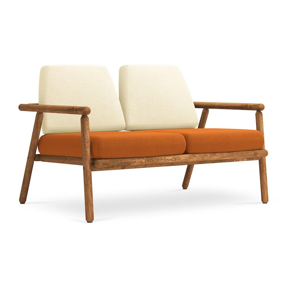 Venkovní dvoumístná pohovka v béžové a oranžové barvě s konstrukcí z masivního akáciového dřeva Calme Jardin Capri