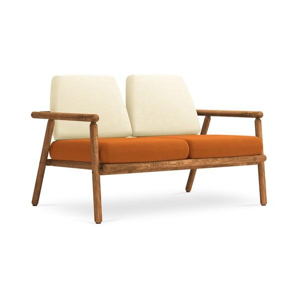 Canapea cu 2 locuri pentru exterior, construcție lemn masiv de salcâm Calme Jardin Capri, bej - portocaliu