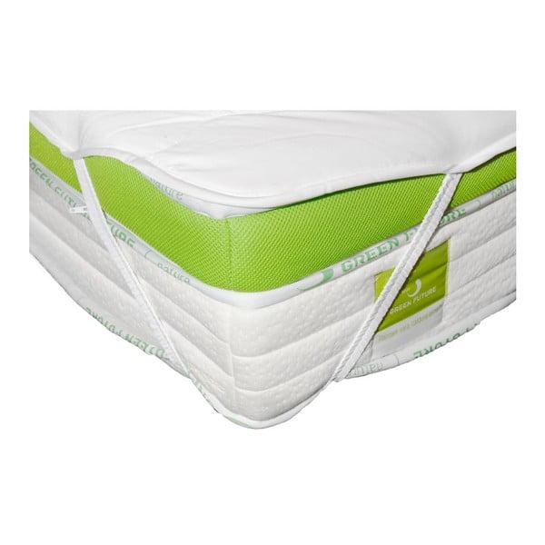 Bílá ochranná podložka na matraci s bambusovými vlákny Nature Green Future, 180x200cm
