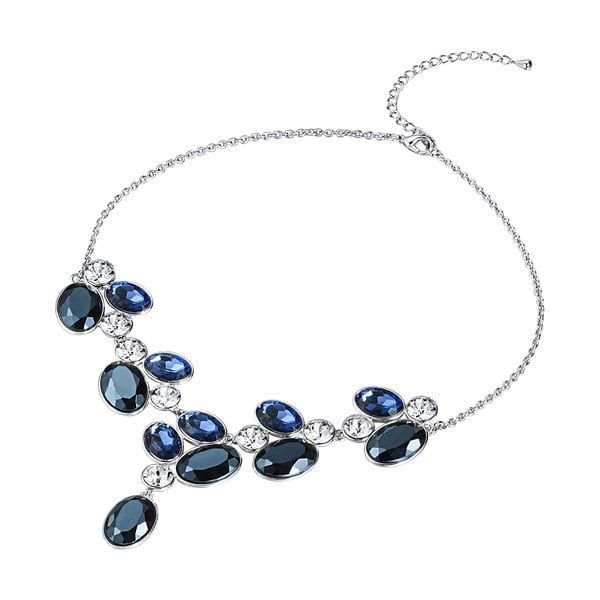 Reina ezüstözött nyaklánc kék Swarovski kristályokkal - Saint Francis Crystals