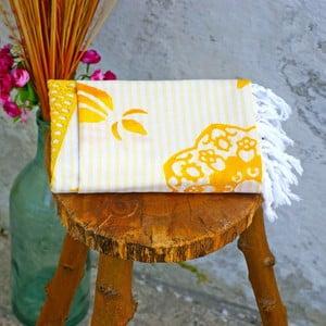 Hamam osuška Striped Yellow, 90x180 cm