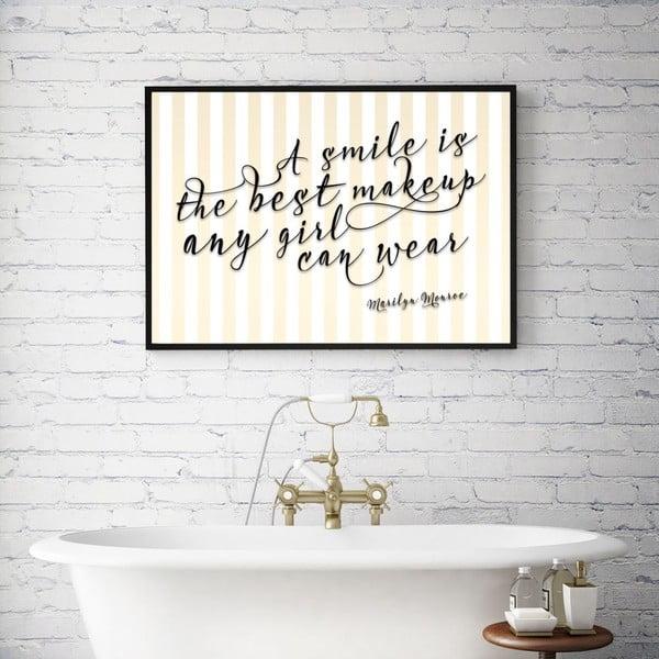 Plakát v dřevěném rámu A smile is the best make up, 38x28 cm