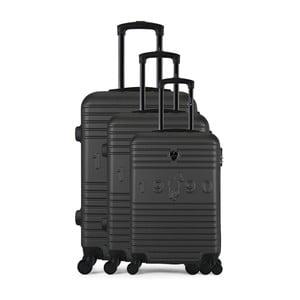 Sada 3 tmavě šedých cestovních kufrů na kolečkách GENTLEMAN FARMER Cadenas Integre Duro