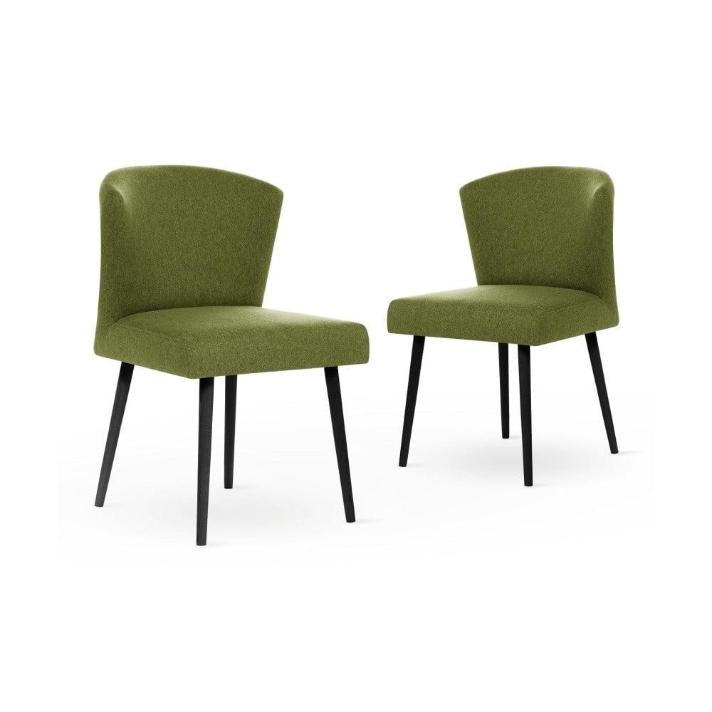 Sada 2 tmavě zelených jídelních židlích s černými nohami My Pop Design Richter