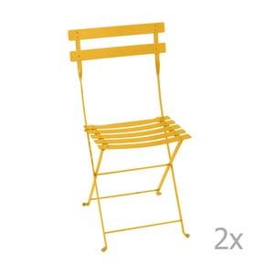 Sada 2 žlutých skládacích zahradních židlí Fermob Bistro