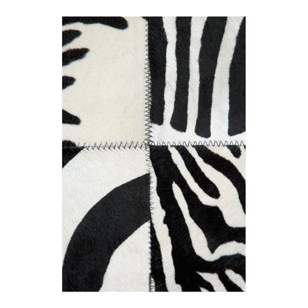 Černobílý koberec z pravé kůže Pipsa Zebra, 140x200 cm