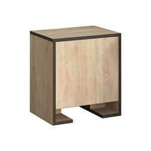 Hnědý noční stolek s antracitovými detaily Homitis Payti