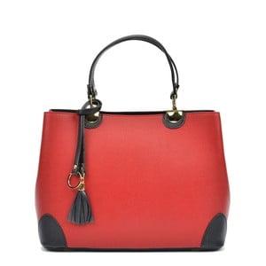 Růžová kožená kabelka s černými detaily Isabella Rhea London Rosso