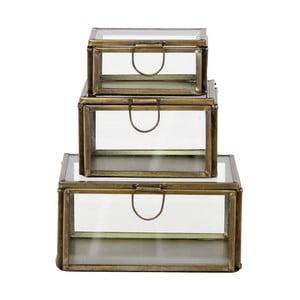 Set 3 skleněných boxů Brass Antique