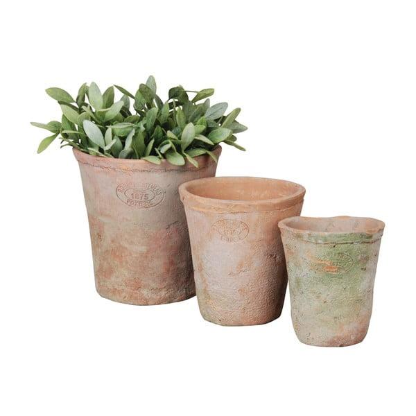 Sada 3 terakotových květináčů Esschert Design Simply