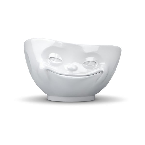 Bol din porțelan, zâmbet 58products, alb
