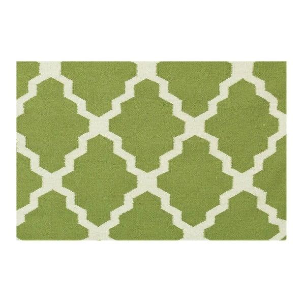 Vlněný koberec Kilim Jasmina Olive, 160x230 cm