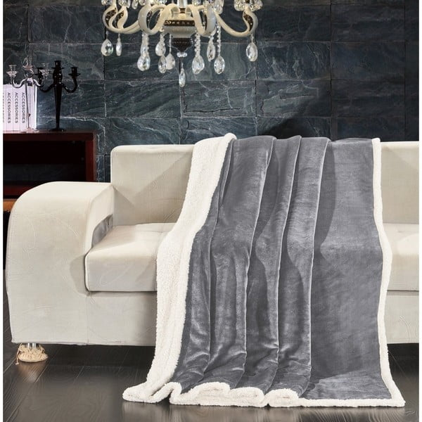 Šedá deka z mikrovlákna DecoKing Teddy Steel, 220 x 240 cm