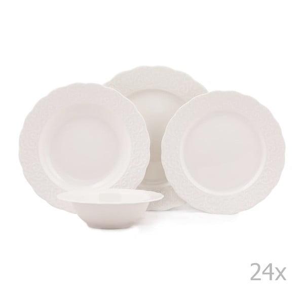 24-częściowy zestaw talerzy porcelanowych Kutahya Burio