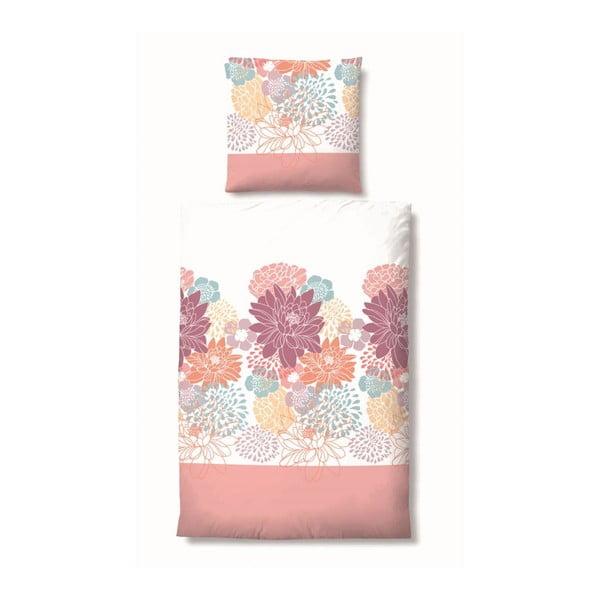 Povlečení Maco Jersey Flowers Pink, 135x200 cm