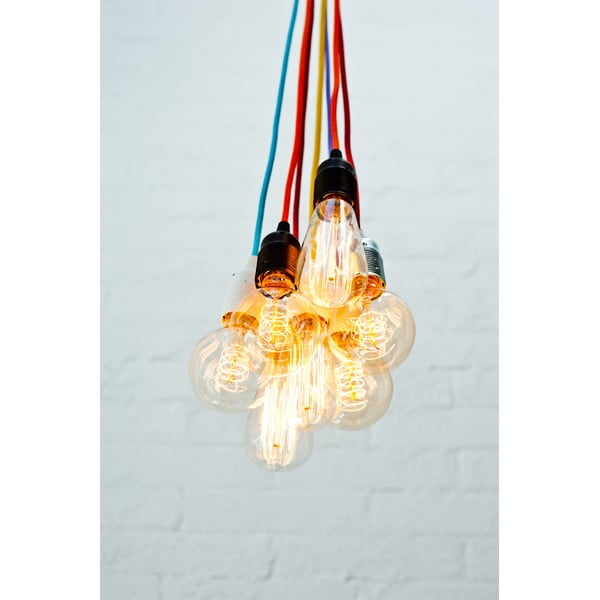 Závěsné svítidlo s černým kabelem a objímkou v měděné barvě Bulb Attack Uno