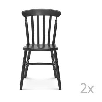 Set 2 scaune de lemn Fameg Ivar, negru