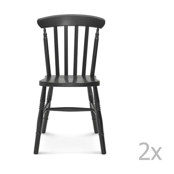 Sada 2 čiernych drevených stoličiek Fameg Ivar