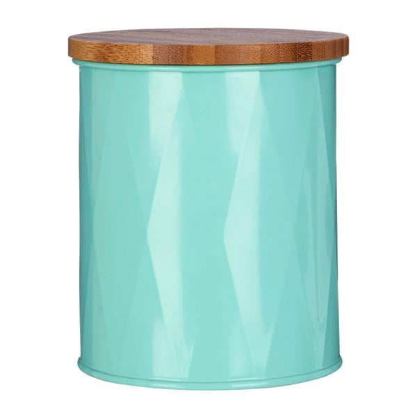 Recipient mic cu capac din bambus Premier Housewares Canister, turcoaz