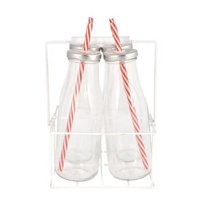 Přenoska se 4 skleněnými lahvemi EsschertDesignFarma