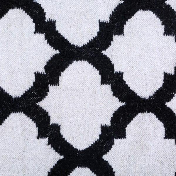 Vlněný koberec Geometry Guilloche Black & White, 160x230 cm